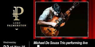 The Lord Palmerston: Live Music - Michael De Souza Trio - Jazz Guitarist - 23 November 8pm