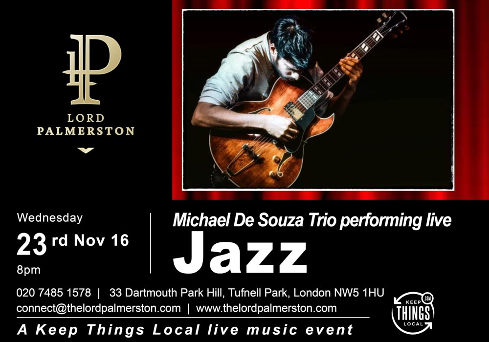 The Lord Palmerston: Live Music - Michael De Souza Trio - Jazz Guitarist - 23 November 8pm
